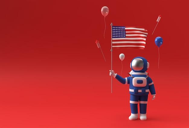 Astronauta 3d renderowania flagi usa. 4 lipca koncepcja dzień niepodległości usa.