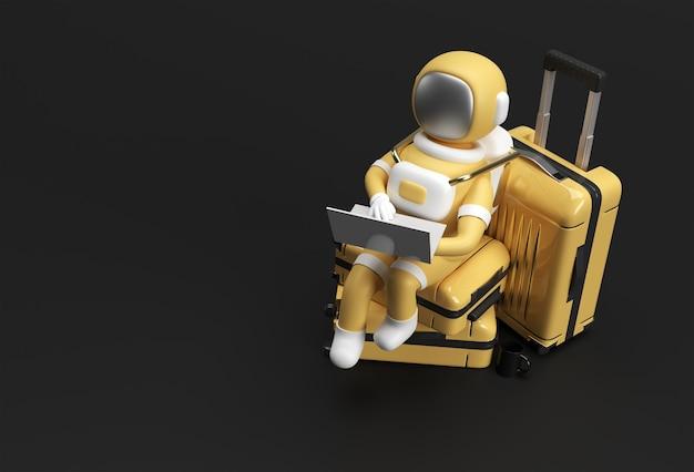 Astronauta 3d renderowania pracy na laptopie siedzi na torbę podróżną ilustracja 3d design.