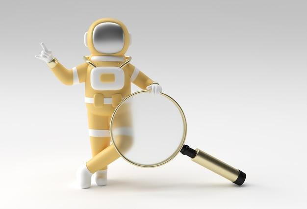Astronauta 3d renderowania szkła powiększającego na białym tle.