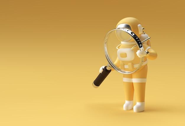 Astronauta 3d renderowania szkła powiększającego na żółtym tle.
