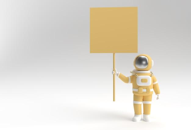 Astronauta 3d renderowania trzyma białą tabliczkę na panelu na białym tle.
