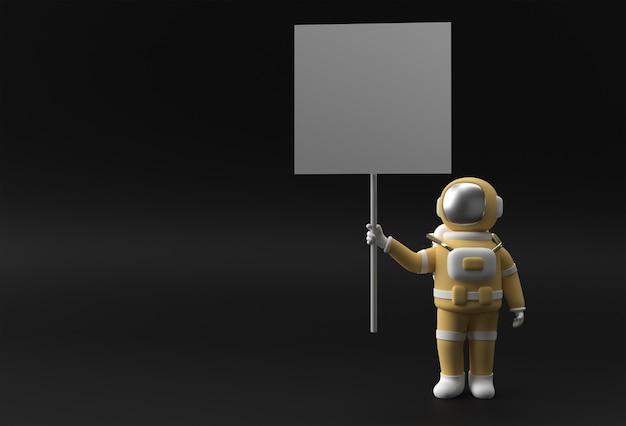 Astronauta 3d renderowania trzyma białą tabliczkę na panelu na czarnym tle.