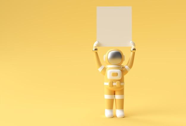 Astronauta 3d renderowania trzymając biały transparent projektowanie ilustracji 3d.