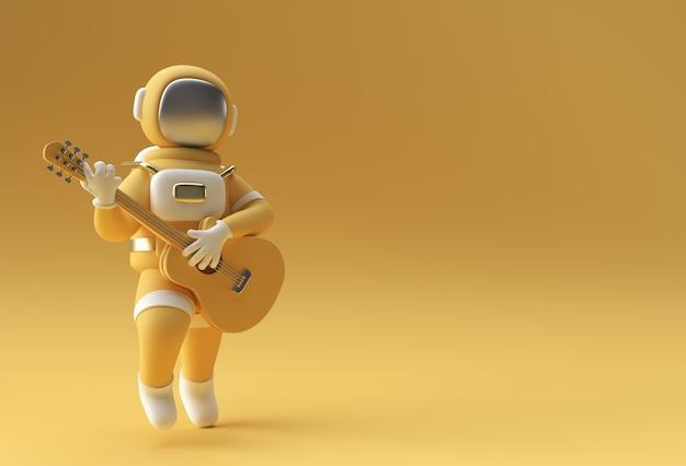 Astronauta 3d renderowania w grze na gitarze projektowanie ilustracji 3d.