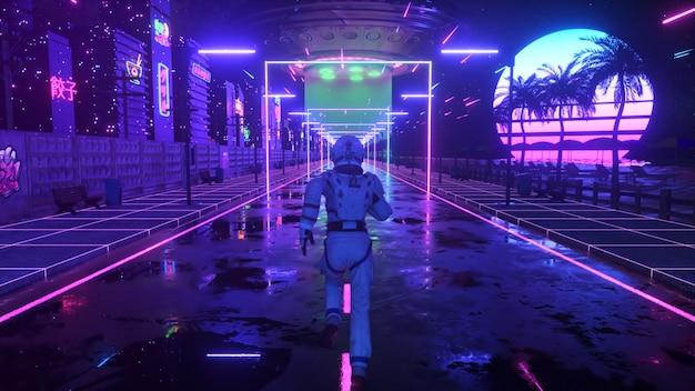 Astronauta biegnie ulicą w neonowym mieście. tło lat 80. styl retro. futurystyczna koncepcja. ilustracja 3d