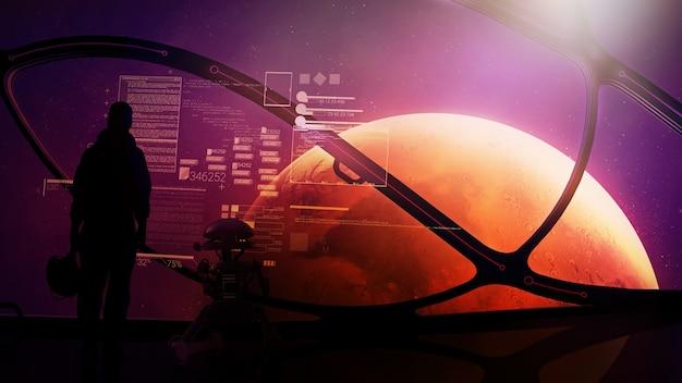 Astronauta i droid przy iluminatorze statku kosmicznego zbliżającego się do marsa