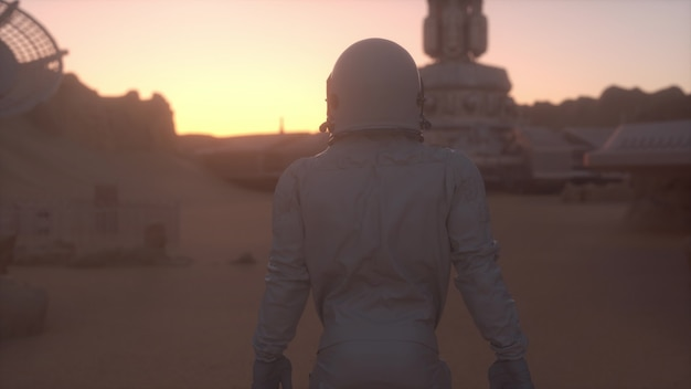 Astronauta na powierzchni marsa