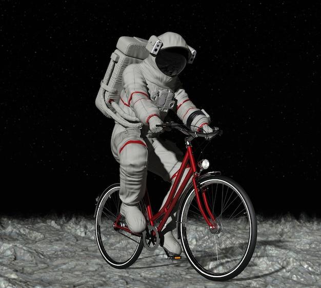 Astronauta na rowerze na księżycu