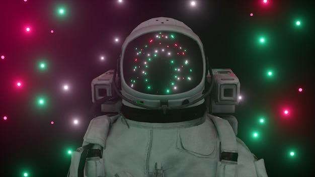 Astronauta otoczony migającymi neonami. koncepcja muzyki i klubu nocnego.