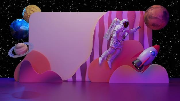 Astronauta, rakieta, gwiazda na kosmicznym banerze z elementami 3d., renderowania 3d.