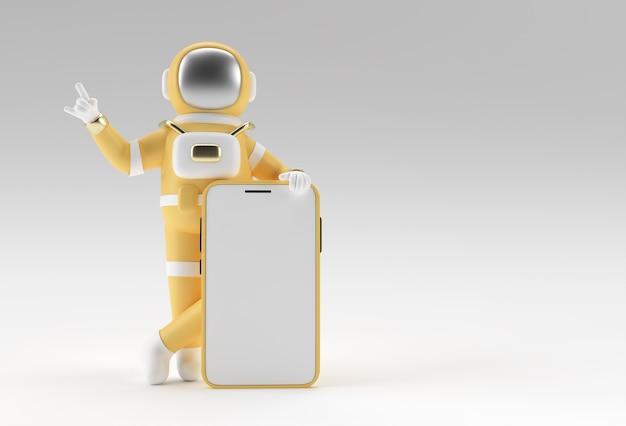 Astronauta ręka wskazujący palec smartphone pusty ekran szablon. streszczenie modne modne makieta. renderowania 3d pustej aplikacji mobilnej telefonu.