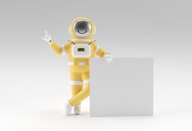 Astronauta renderowania 3d trzyma bia?y baner na bia?ym tle.