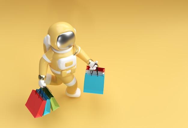 Astronauta renderowania 3d z torby na zakupy projektowanie ilustracji 3d.