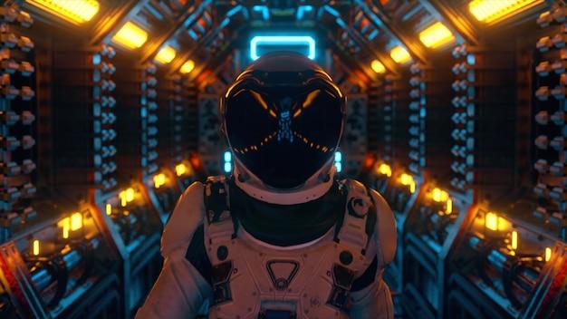 Astronauta spacerujący w tunelu statku kosmicznego, korytarz wahadłowca sci-fi. futurystyczna technologia abstrakcyjna. technologia i koncepcja przyszłości. migające światło. ilustracja 3d