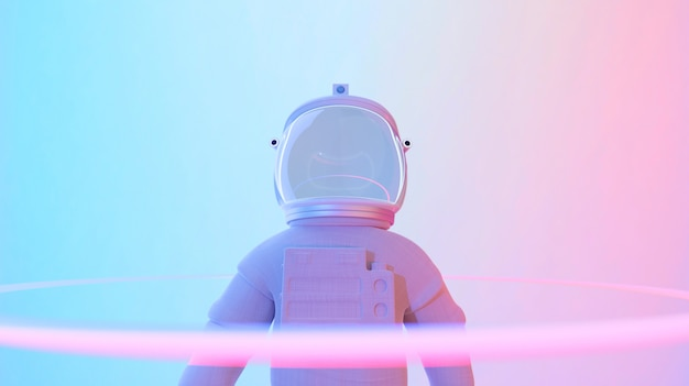 Astronauta stojący w psychodelicznym tle