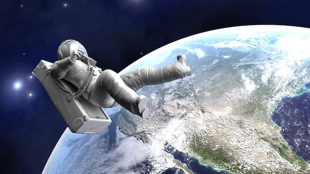 Astronauta unoszący się nad ziemią renderowania 3d