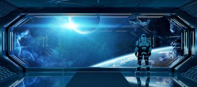 Astronauta w futurystycznym statku kosmicznym obserwujący przestrzeń przez duże elementy okna tego obrazu dostarczone przez nasa