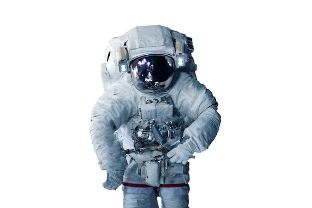 Astronauta w skafandrze kosmicznym na białym tle elementy tego zdjęcia dostarczone przez nasa