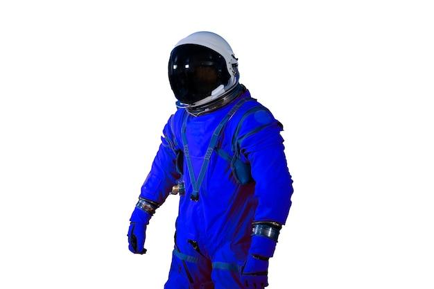 Astronauta w skafandrze na białym tle na białym tle. elementy tego obrazu dostarczyła nasa. zdjęcie wysokiej jakości