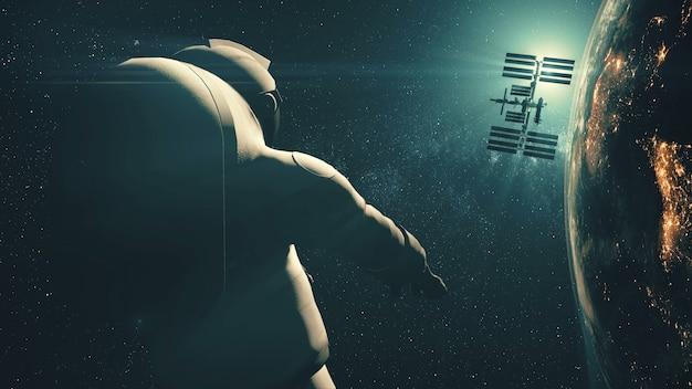 Astronauta zbliżenia grawitacji międzynarodowej stacji kosmicznej leci w przestrzeni kosmicznej na jasnoniebieskiej gwiazdy