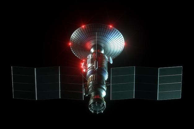 Astronautyczny satelita z anteny półkowej i panelami słonecznymi odizolowywającymi na czerni ścianie. telekomunikacja, szybki internet, sondowanie, eksploracja kosmosu. 3d odpłacają się, 3d ilustracja, kopii przestrzeń.