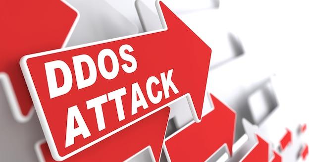 """Atak ddos. pojęcie informacji. czerwona strzałka z hasłem """"ddos attack"""""""