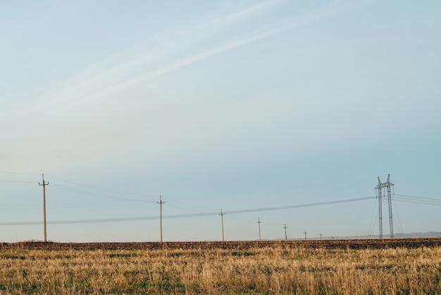 Atmosferyczny krajobraz z liniami energetycznymi w koloru żółtego polu pod niebieskim niebem.