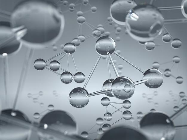 Atom lub cząsteczka wykonana z tła materiału szklanego