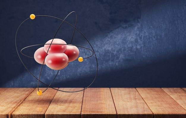 Atom na drewnianym stole na ciemnym niebieskim tle