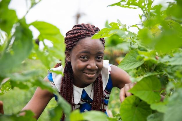 Atrakcyjna afrykańska dziewczyna z pięknymi warkoczami pozuje uśmiechając się wśród niektórych liści