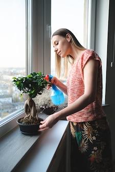Atrakcyjna kobieta podlewania drzewa bonsai w mieszkaniu
