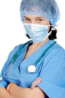 Atrakcyjna pani lekarz na białym tle