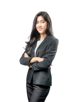 Atrakcyjny azjatykci bizneswoman z krzyżować rękami
