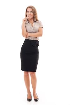 Atrakcyjny bizneswoman w okularach