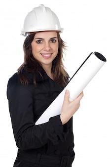 Atrakcyjny młody inżynier nad białym tłem