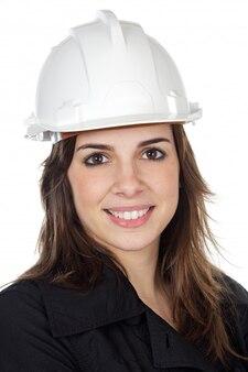 Atrakcyjny student inżynierii na białym tle