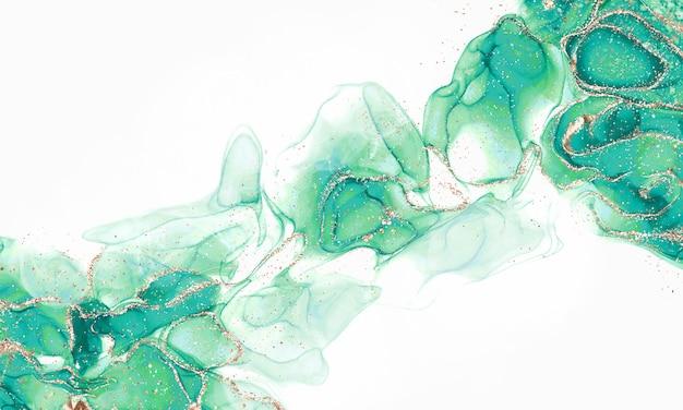 Atrament alkoholowy abstrakcyjne płynne odcienie kolorów ze złotymi iskierkami