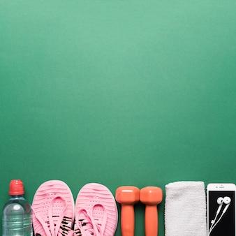 Atrybuty sportowe na zielono
