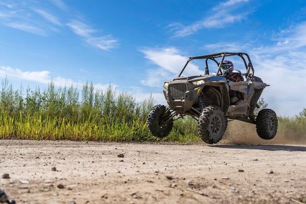 Atv adventure buggy extreme ride on dirt track utv