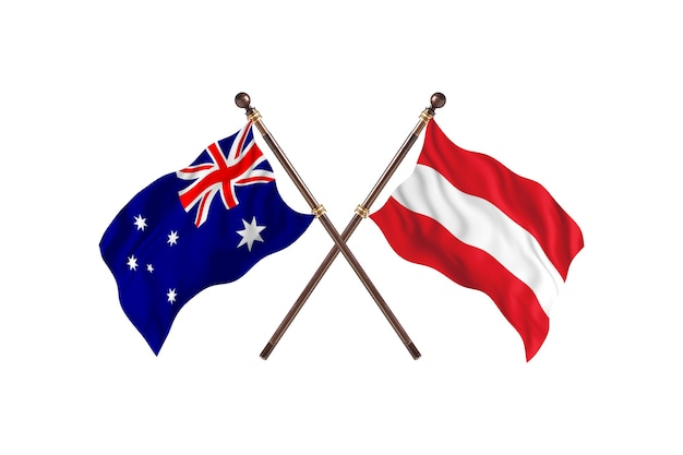 Australia kontra austria flagi tło