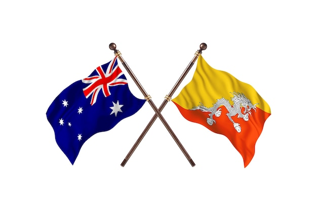 Australia kontra bhutan flagi tło