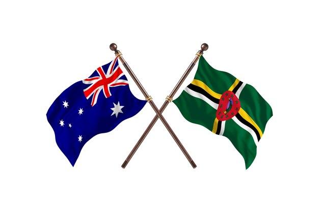 Australia kontra dominika flagi tło