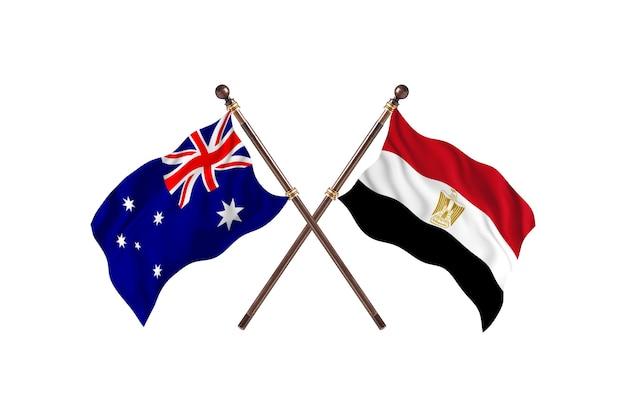 Australia kontra egipt flagi w tle