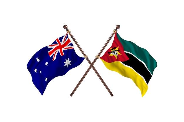 Australia kontra mozambik flagi tło