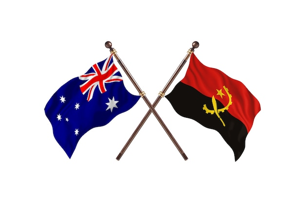 Australia kontra tło flagi angoli