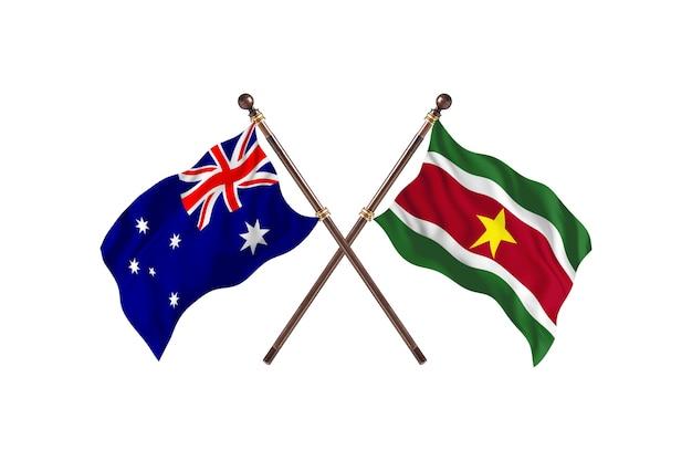 Australia kontra tło flagi surinamu