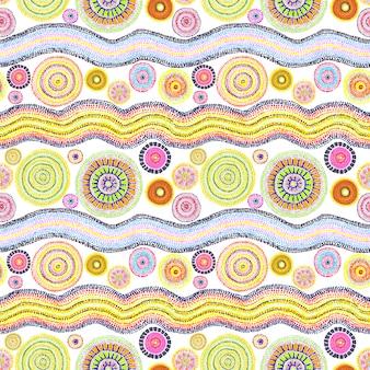 Australijski design z kropkami - kółkami i falami. wzór