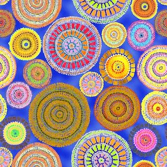 Australijski wystrój z kropkami i kółkami. plemienny wzór. malowanie ręczne