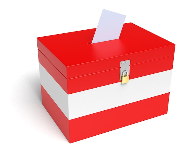 Austria urna wyborcza z austriacką flagą na białym tle