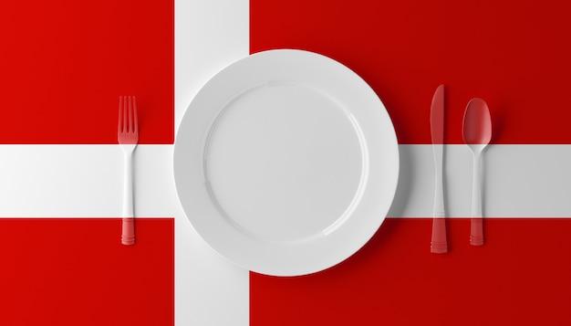 Autentyczna kuchnia duńska. talerz z duńską flagą i sztućcami. 3d ilustracji.